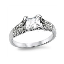 Sterling Silver Vintage Wedding Engagement Ring Band Clear CZ Size 5 6 7 8 9 10