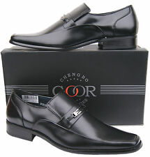 Mens New Black Slip On Leather Lined Formal Designer Shoes Free UK Shipping