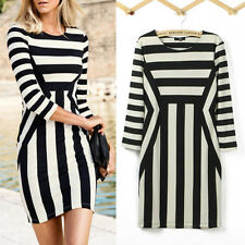 Women's Black White Striped Optical Illusion Party Bodycon Mini Dress ON SALE