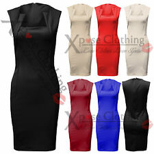 WOMENS LADIES SQUARE NECK ZIP BACK DRESS BODYCON  SHIFT PARTY DRESSES SKIRT TOPS