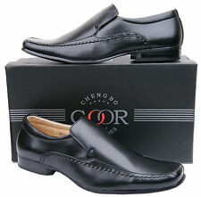 Mens New Black Slip On Leather Lined Formal Fashion Shoes Free UK Postage