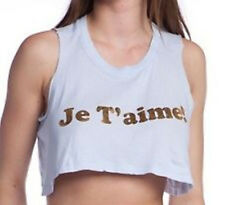 WILDFOX Cropped Je T'aime Tank in Powder Blue NWT
