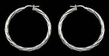 STERLING SILVER SMALL MEDIUM LARGE POLISHED TWISTED TUBE HOOP CREOLE EARRINGS