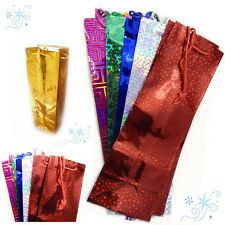 Shiny Wine Bottle Gift Bag Assorted Colour Party XMas Present Carrier Paper Bags