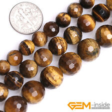 "Natural Tiger's Eye Gemstone Faceted Round Beads For Jewelry Making 15"" 8mm 10mm"