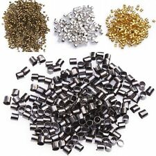 500pcs New Silver/Golden/Dark Silver/Black Tube Crimp End Spacer Beads 1.5/2mm