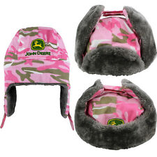 "John Deere ""Camouflage Girl"" Pink Girls Trapper Style Hat S/M(4-8) L/XL(10-14)"