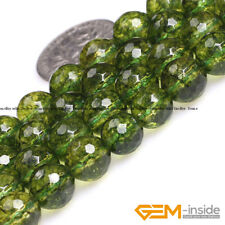 """Green Peridot Crystal Faceted Round Beads For Jewelry Making Strand 15"""" 6mm 8mm"""