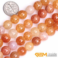 """Crackle Yellow Agate Gemstone Round Beads For Jewelry Making Strand 15"""" Yao-Bye"""