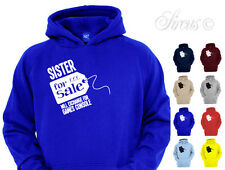 SISTER FOR SALE FUNNY DESIGNER HOODY BOYS HOODIES KIDS CHILDRENS AGES 1 - 12