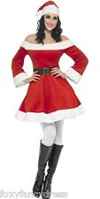 Reduced Deluxe Velour Miss Santa  Christmas Xmas Festive Fancy Dress All Sizes