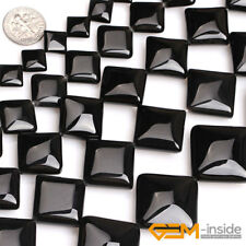 "Natural Black Agate Gemstone Square Beads For Jewelry Making Strand 15"" Yao-Bye"