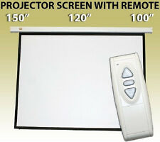 New Electric Motorized Projector Projection Screen w/ Remote Matt White 4:3