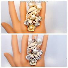 Crystal Pearl Shell Flower Nautical Bling Diva Ring - Gold or Silver
