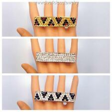 Crystal Bar Bling Diva Two Finger Knuckle Ring - 3 Colors