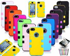 Multi-Color Tuff Hybrid Rugged Rubber Phone Case Cover For iPhone 5C free Gift