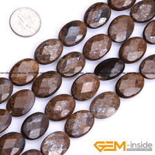 """Natural Oval Faceted Bronzite Beads Jewelry Making Loose Gemstone Beads15"""""""