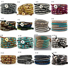 Wholesale Womens Men Love Handmade 5 Wraps Color Stone Leather Bracelet Gift BC6
