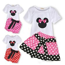 2PCS Baby Girls Minnie Clothes Short Sleeve Dress Kids Sets For 1-6T 4 Styles