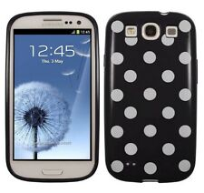Samsung Galaxy S3 SIII A Pois Spotty Custodia Cover Sottile In Gel Nero