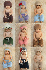 New Handmade Colorful Cotton Knit Crochet Baby Cap Hats&Pants Newborn Photo Prop