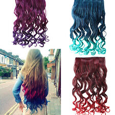 "3 Colors 26"" Rainbow Women's  Neon Tangle Curly Clip in Hair Extension Ponytail"