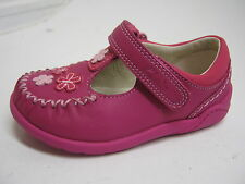 CLARKS INFANT GIRLS HOT PINK LEATHER SHOES  IN F&G WIDTHS  LITZY LOU FST