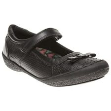 New Girls Hush Puppies Black Cheerleader Leather Shoes Velcro