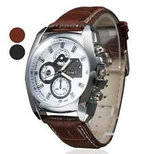 Men's Boy  Silver Case Leather Band Quartz Analog Wrist Watch for Mens Watches