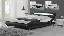New Modern Curved Designer Double King Size Bed Multi Colour LED Light Headboard