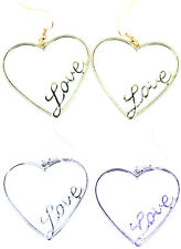 Gold / silver love heart dangle earrings, multiple choices