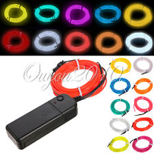 1M/2M/3M/5M Flexible Neon Light EL Wire Christmas Party Car Decor + Controller