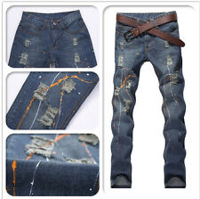 New Classic Men's Stylish Designed Straight Slim Fit Trousers Casual Jeans Pants