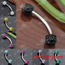 1pc Steel 18g Czech Crystal Curve Disco Ball Eyebrow Ring Ear Stud Barbell Bar
