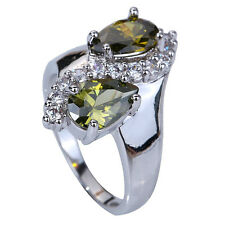Chic Unisex Pear Cut Peridot Gemstones Silver Ring Size 7 8 9 10 Free Shipping