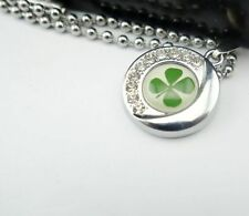 Necklace Pendant REAL 4 Four Leaf Clover under Art Deco