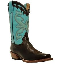 Stetson Ladies Brown Turquoise Square Toe Boots 12-021-8201-0319 New