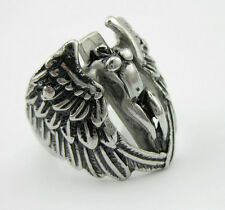 Men's Silver 316L Stainless Steel Angel Wings Hot Biker Ring Size 8-12