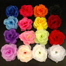 VINTAGE ROCKABILLY FLOWER ROSE HAIR CLIP MANY COLOURS RED PINK BLUE WHITE PURPLE