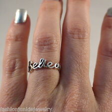 Believe Script Ring - 925 Sterling Silver *NEW* Faith Hope Trust Cursive Believe