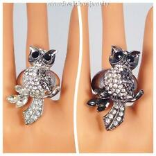 Crystal Owl Bling Diva Ring - Silver or Hematite