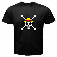One Piece Luffy And Nami Pirates Flag Anime Manga Black T-Shirt Size S to 3XL Av