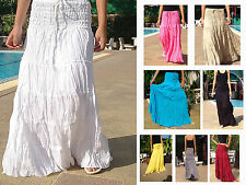 LONG GYPSY SKIRT DRESS - BOHO HIPPY PEASANT SUN TIERED COTTON - VARIOUS COLOURS