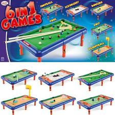 NEW KIDS TABLE TOP GAMES CHILDRENS 6 IN 1 FOOTBALL BOWLING GOLF POOL BASKETBALL