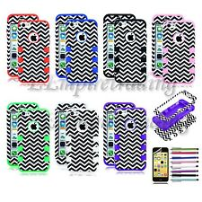 Hybrid Chevron Print Rugged Rubber Matte Hard Tuff Case Cover For iPhone 5C +Pen
