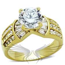 SS 3ct ROUND SOLITAIRE ENGAGEMENT RUSSIAN LAB CREATED SIM DIAMOND RING TK1323
