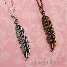 FUNKY VINTAGE FEATHER NECKLACE CUTE CHARM CHIC PENDANT BOHO KITSCH FESTIVAL EMO