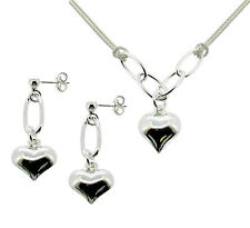 LADIES 925 STERLING SILVER HEART PENDANT NECKLACE & EARRING SET VALENTINES GIFT