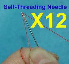 12 Assorted Size Self Threading Needles Quilting Guided Top Stitching Craft Tool