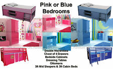 Pink Or Blue High Gloss Two Tone Girls & Boys Modern Bedroom Furniture Units